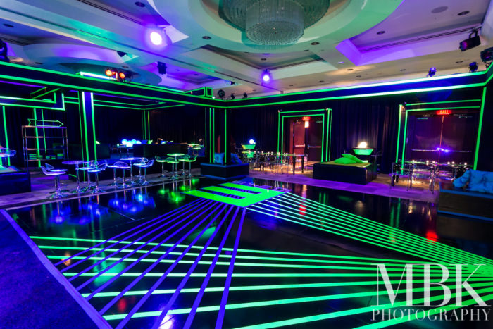 Black dance Floor with day glo design