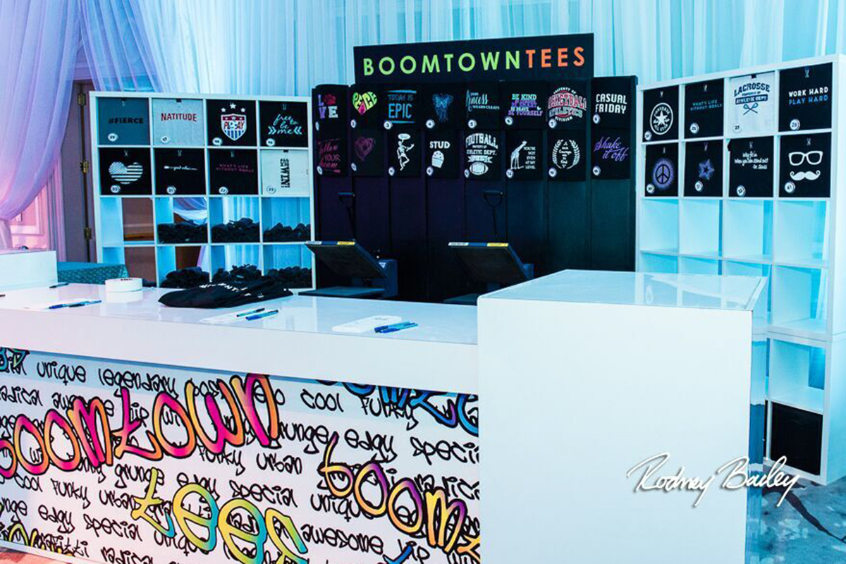 Boomtown Tees set up